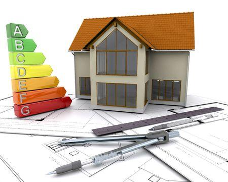 votaciones: Casa con puntuaciones sobre los planes de energ�a Foto de archivo