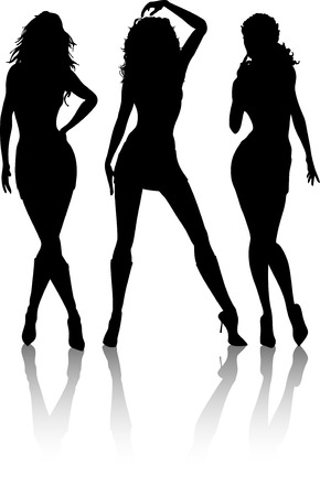 sexy woman silhouette: Silhouettes of sexy females