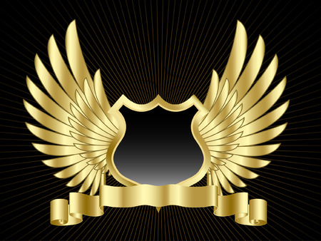 shield wings: Shield with wings and gold scroll Illustration