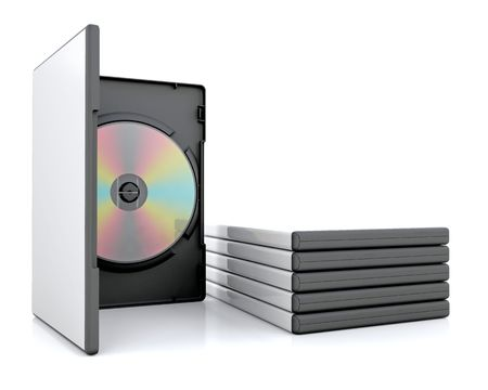 DVD in case with a stack of cases photo
