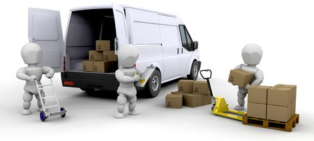 Workers loading a van with boxes