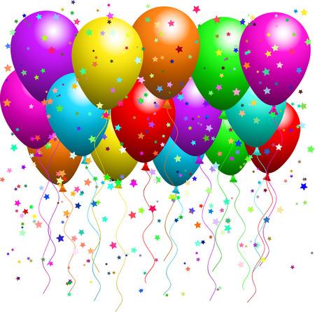 globos de fiesta: Globos y confeti en forma de estrella de