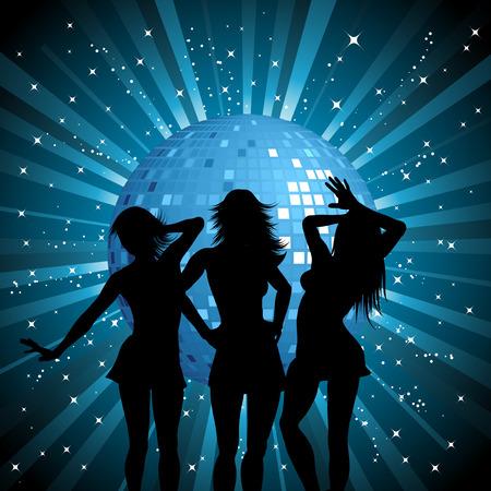 mirror ball: Siluetas de mujeres sexy en el fondo Mirror Ball Vectores