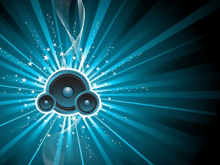 speakers: Music speakers on starburst background Illustration