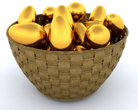 huevos de oro: Cesta de la compra de los huevos de oro Foto de archivo