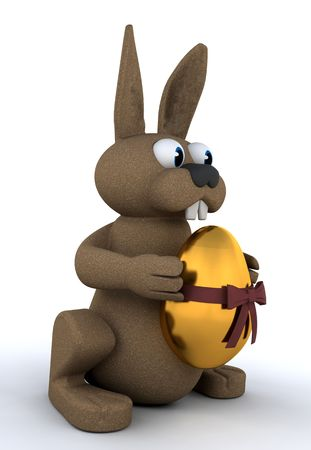 easter bunny: Easter bunny holding a golden egg