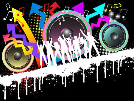 Sagome di persone ballare sulla musica grunge background Vettoriali