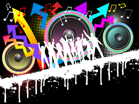 youngsters: Silhouettes of people dancing on grunge music background Illustration