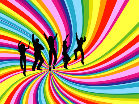 group of objects: Silhouettes of people dancing on rainbow twirl background