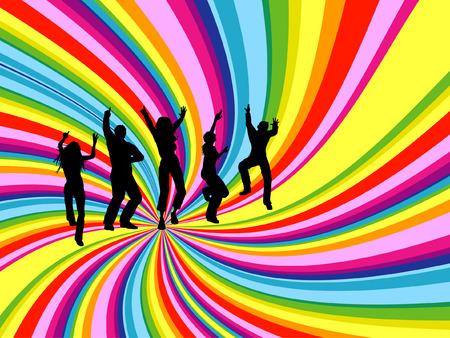 chicas bailando: Siluetas de personas bailando en girar arco iris de fondo
