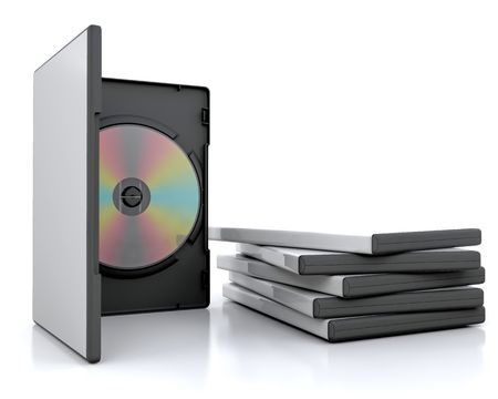 dvd case: 3d render of a dvd in a case next to a stack of cases