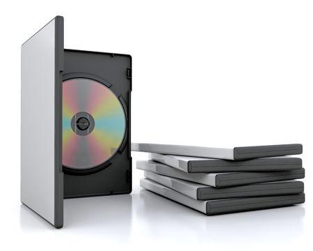3d render of a dvd in a case next to a stack of cases