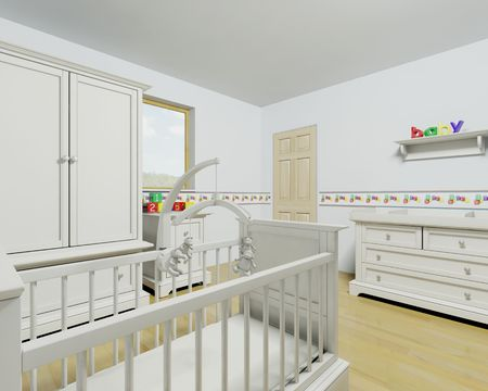 3d render of a contemporary childrens nursey interior Stock Photo - 4395008