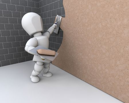 plasterer: 3d render of a person plastering a brick wall