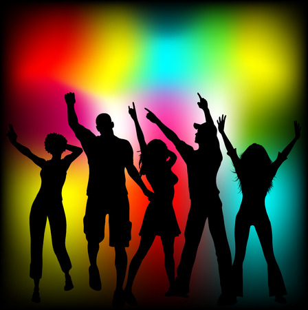 Silhouettes of people dancing on colourful background