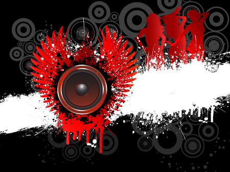 grunge wings: Sagome di donne sexy sulla musica grunge background