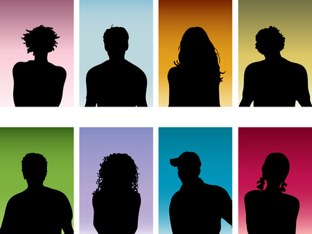 head silhouette: Silhouettes of peoples heads Illustration