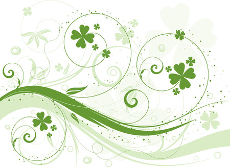 good day: Abstract floral design with shamrock Illustration