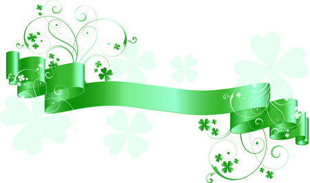 Green scroll with St. Patricks day theme Stock Vector - 4395033
