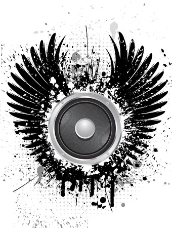 Speaker on grunge background with wings isolated