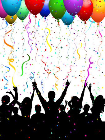 youngsters: Silhouette of a party crowd with balloons and confetti