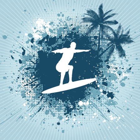 Silhouette of a surfer and palm trees on grunge background Vector