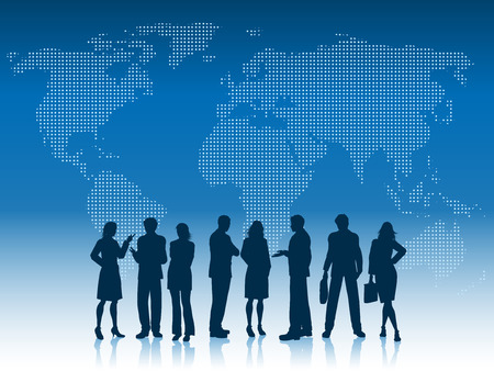 Silhouettes of business people on a world map background Stock Illustratie