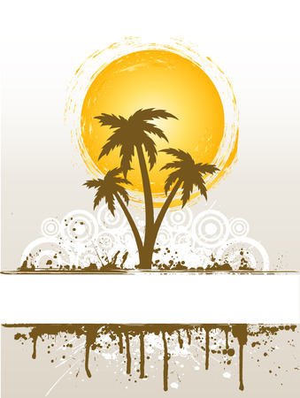 Grunge style palm trees background Vector