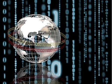 wireframe globe: 3D render of wireframe globe on binary code background Stock Photo