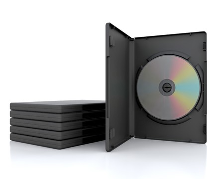 dvd case: 3D DVD Case with a DVD inside isolated  Stock Photo