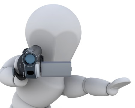 handycam: 3D man with a video camera isolated over white