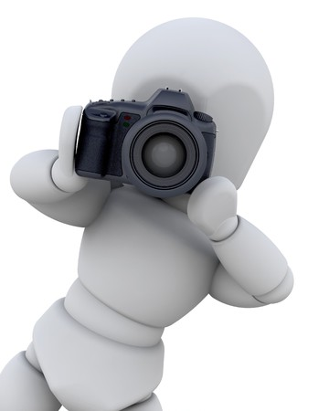 black and white photography: 3D man using a digital camera isolated  Stock Photo