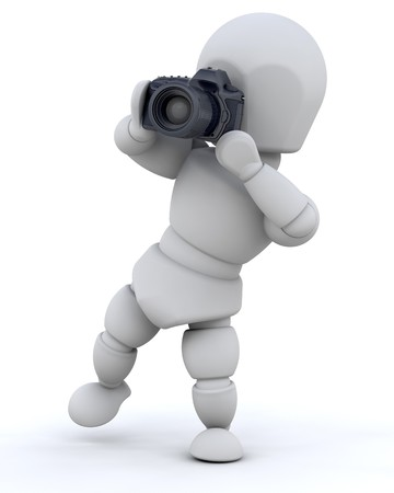 3D fullbody man taking  a picture, isolated Stock Photo