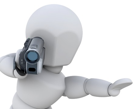 handy cam: 3D man using a handycam isolated
