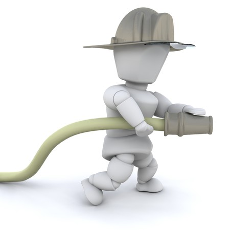 3D firefighter man with helmet and hose isolated