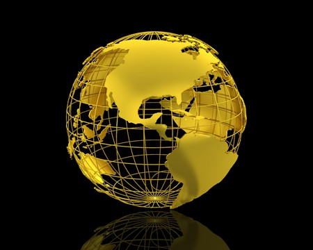 gold earth: 3D World map isolated over a black background