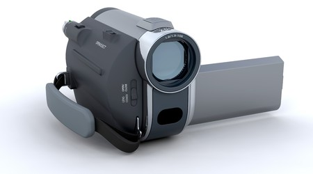 handy cam: 3D Handy camera isolated over a white background
