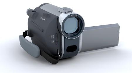 rec: Handy fotocamera 3D isolato su uno sfondo bianco