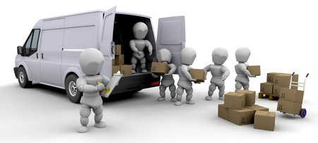 handling: 3D removal van and men with boxes isolated  Stock Photo