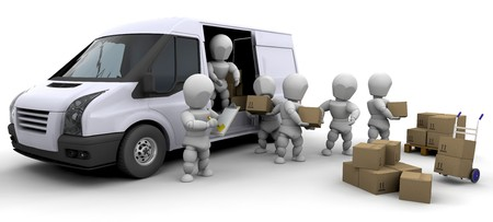 3D moving men handling materials isolated over white photo