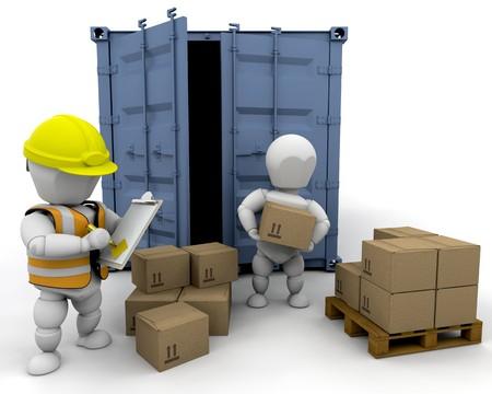 manejar: 3D hombres manipulaci�n de materiales en un bunker aislado Foto de archivo