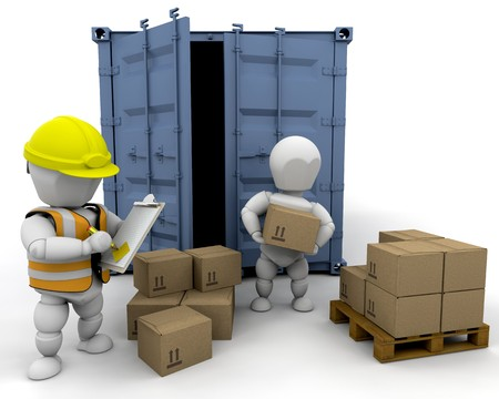 3D men handling materials into a bunker isolated  photo