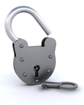 unlocked: 3D unlocked Security padlock with a key - isolated  Stock Photo