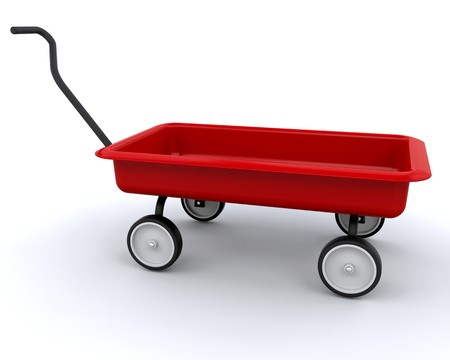 3D Red wagon isolated over a white background photo