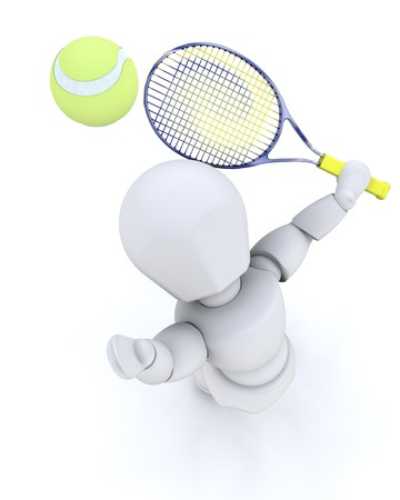 3D tennis player serving isolated over white  photo