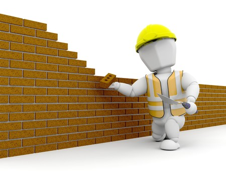 redesign: 3D construction worker building a wall  Stock Photo