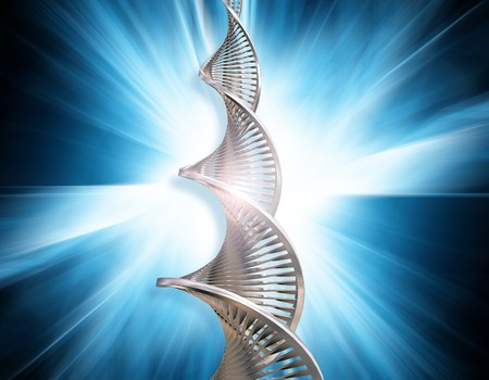 raytrace: DNA strands on abstract blur background