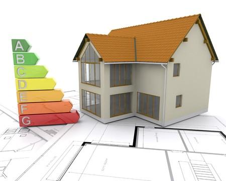 votaciones: 3D Casa con puntuaciones de energ�a Foto de archivo