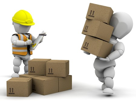 removal: 3D removal men handling materials - isolated