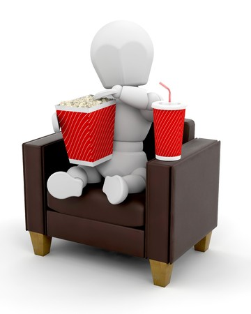 3D man watching movies at home isolated  photo